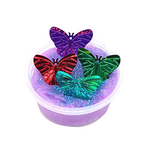 Clothful Toy Flash Sequins Clay Could Slime with Butterfly Putty Scented Stress Kids Clay Toy (A)