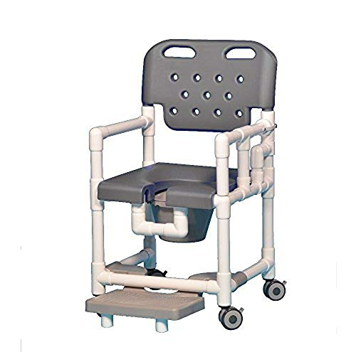 IPU ELT817 P FRLDA Elite Shower Chair Commode with Footrest and Left Drop Arm for use over existing Toilet