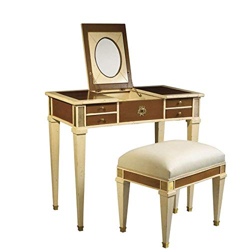 Light Vanity Astoria - Solid Wood Vanity Set with Mirror and Seat, Light Cherry + Free Basic Design Concepts Expert Guide