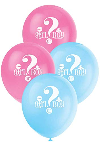 Unique Industries 12quot Gender Reveal Latex Balloons DIY Party Decoration  Pack of 8 Blue and Pink  47395