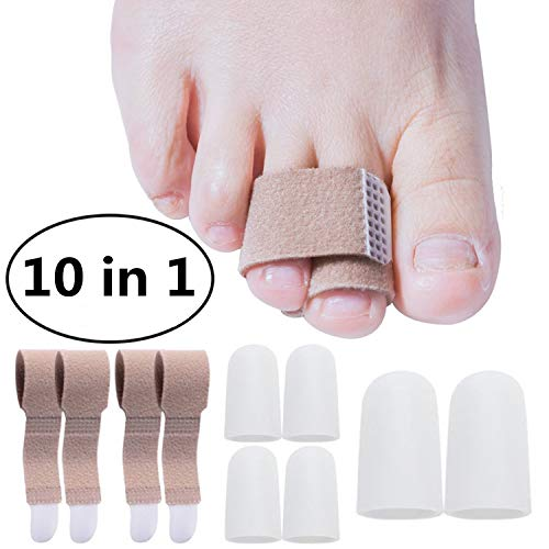 Broken Toe Wraps and Gel Toe Cap, Anti-Slip Brace Cushioned Bandages Hammer Toe Separator Splints, Silicone Toe Protector Prevent Callus and Blistering Pack of 10 by CareUToo