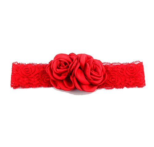 Elastic Baby Girls Lace Headband with Double Baked Burn Satin Rosette Flowers JA63 (Red)