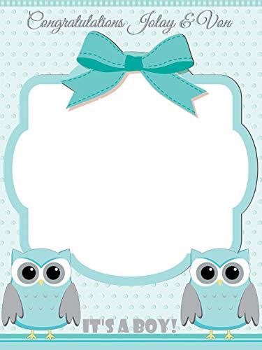 Custom Home Decor Owl Baby Shower Photo Booth Prop - Sizes 36x24, 48x36; Personalized Social Media Style owl Baby Shower Photo Booth Frame, animal baby shower, baby boy; Handmade Nursery Decor]()