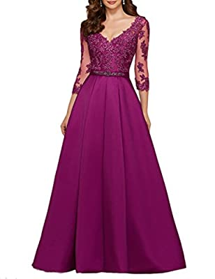 OYISHA Womens 3/4 Sleeve Long Appliqued Prom Dress A-line Party Gown Beaded EV29