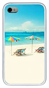 iPhone 4S Case, iPhone 4S Cases -Beach Chairs And Umbrellas TPU Rubber Soft Case Back Cover for iPhone 4/4S ¨C White