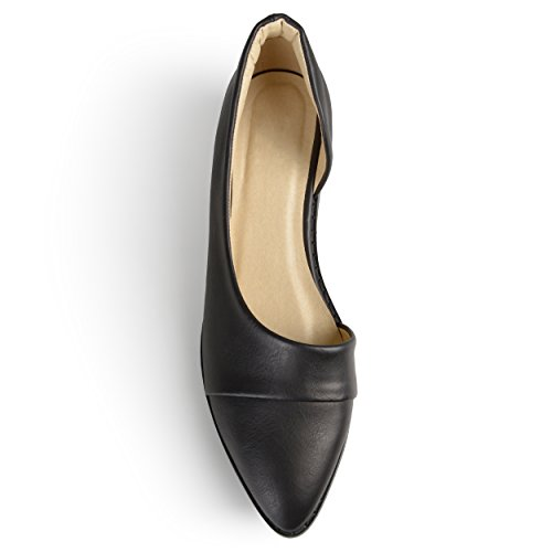 Journee Collection Dorsay Amande Orteil Flats Noir