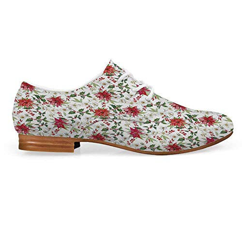 (Watercolor Leather Lace up Oxfords Shoes,Fresh Poinsettia Flowers and Rowan Berry Branches Christmas Garden Bootie for Girls ladis Womens,US 5)