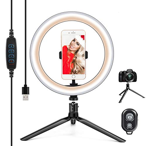 """10.2"""" Ring Light with Stand & Phone Holder and Remote Control, Dimmable Desk Makeup Selfie LED RingLight Perfect for Live Streaming/YouTube/Video Recording/Photography, Compatible with iPhone/Android"""