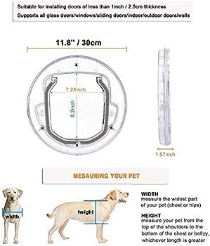 Transparent Round Dog Flap Door for Glass Door Plastic Household Cat Gate Lockable Security Pet Entrance Puppy Hole