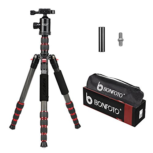 BONFOTO B690C Lightweight Carbon Fiber Portable Travel Camera Tripod with 360 Degree Ball Head,1/4