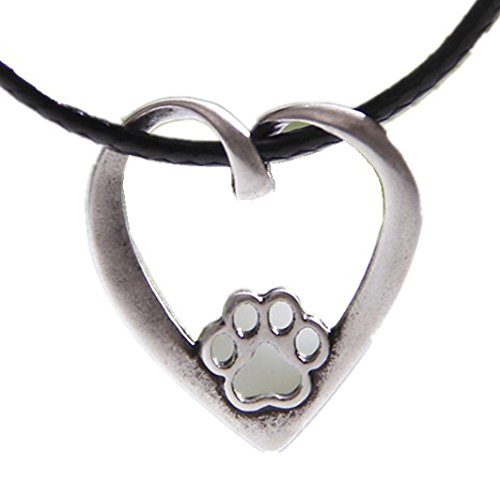 Paw Print Heart Necklace Pendant Zinc Alloy Antique Silver Plated 1265 (House Print Paw)