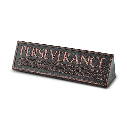 Lighthouse Christian Products Cast Stone & Copper Perseverance Desktop Reminder Plaque by Lighthouse Christian Products