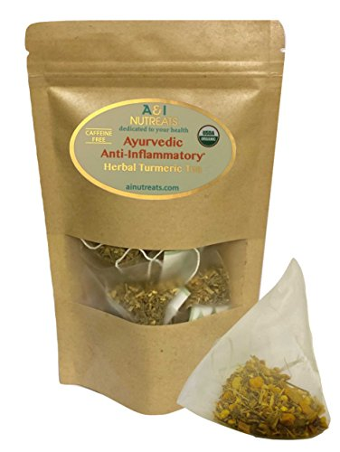 Ayurvedic Anti-Inflammatory tea - Premium whole leaf pyramid tea sachet bags - USDA Organic Turmeric Herbal Tea for Joint Health support (14 Sachets Pouch)