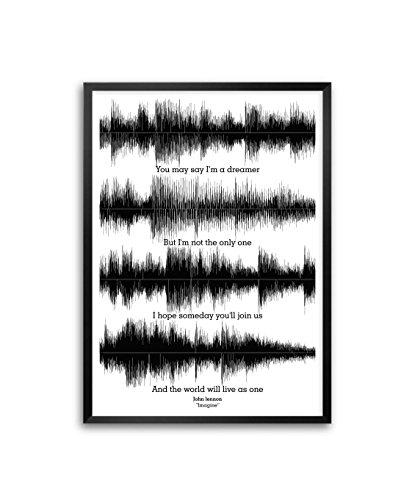 Lab No. 4 John Lennon Imagine Lyrics Framed Poster in A3