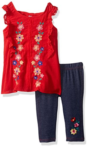 Blouse Woven Embroidered - Nannette Baby Girls' 2 Piece Embroidered Woven Blouse and Capri Legging Set, Red 12M