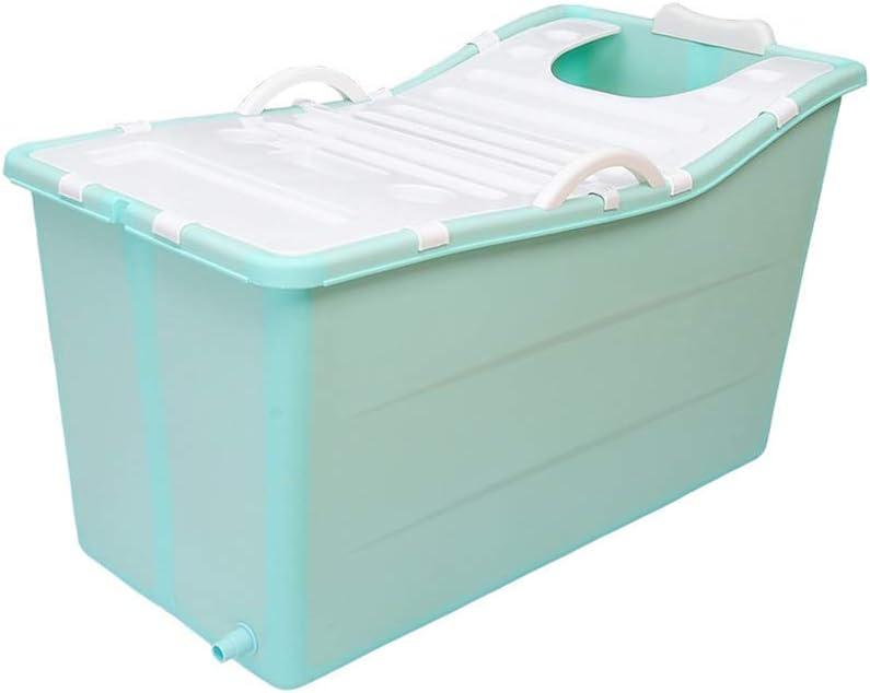 Bañera plegable con tapa, bañera de plástico grande portátil, baño de adultos para adultos, barril, piscina para niños, ducha de cuerpo completo, verde, 100 * 53 * 51 cm (color: verde + cubierta