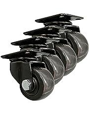 1.5in 2in Black Nylon Wheel Heavy Duty Plate Casters, Industrial Castors, Metal Swivel Wheel with Brake, Each Load Capacity 80kg 130kg, Set of 4, with Screws, for All Floors Including Hardwood