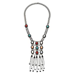 Young & Forever Boho Gypsy Multicolor Circular Natural Stone Statement Necklace for Women Lariat Length Silver Plated Tassel Addict Tribal Navratri Fancy Fashion Jewelry for Girls