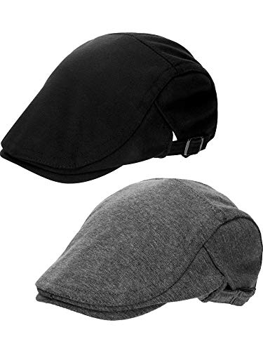 Zhehao 2 Pieces Cotton Newsboy Caps Ivy Flat Cap Hat for Men and Boys Wearing (Style 2, Dark Grey and Black)