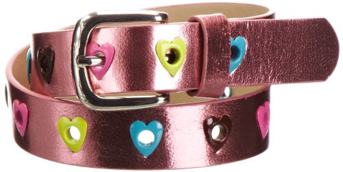 Playshoes Mädchen Gürtel 601330 Mädchen Glitzer Gürtel mit Herzchen, Gr. 75, Mehrfarbig (pink)