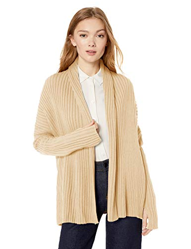 - Cable Stitch Women's Long-Sleeve Rib-Knit Cardigan Sweater with Thumbhole X-Small Warm Ivory