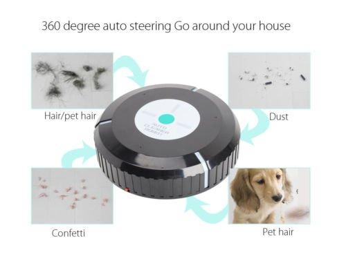 Home Smart Auto Robotic Dust Vacuum Robot Floor Cleaner Mop Sweeper Black 9''Mini
