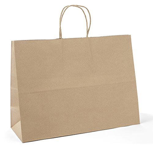 "Halulu 25 Pcs 16x6x12"" Kraft Brown Paper Handle Shopping Gift Merchandise Carry Retail Bags"