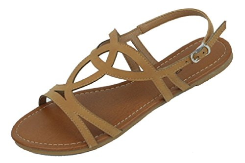 Shoes 18 Womens Strappy Roman Gladiator Sandals Flats Thongs Shoes (9, Brown 2226)
