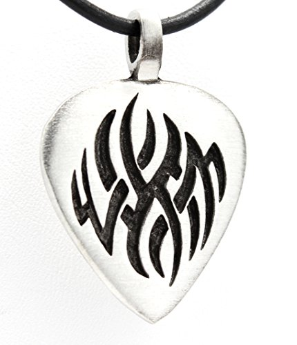 Pewter Guitar Pick with Tribal Flame Pendant on Leather Necklace (Guitar Skull Pendant)