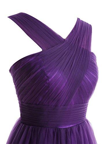 Bbonlinedress Vestido De Fiesta Largo Mujer Boda Madrina Tul Con Tirantes Violeta