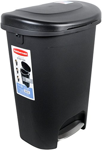 Rubbermaid Step-On Wastebasket Trash Can, 13-Gallon, Metal-Accent Black, 1843029 (Step Trash Can Black compare prices)