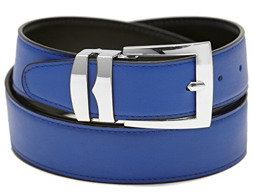 Mens Belt Reversible Wide Bonded Leather Silver-Tone Buckle ROYAL BLUE /Black 46