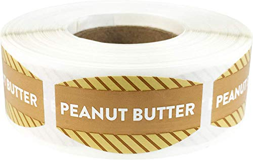 Peanut Butter Grocery Store Food Labels .75 x 1.375 Inch Oval Shape 500 Total Adhesive Stickers ()