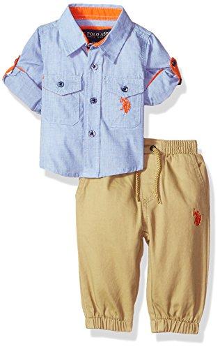 U.S. Polo Assn. Baby Boys' Sport Shirt and Pant Set, Multi Plaid, 3/6 - Sports Us Clothing