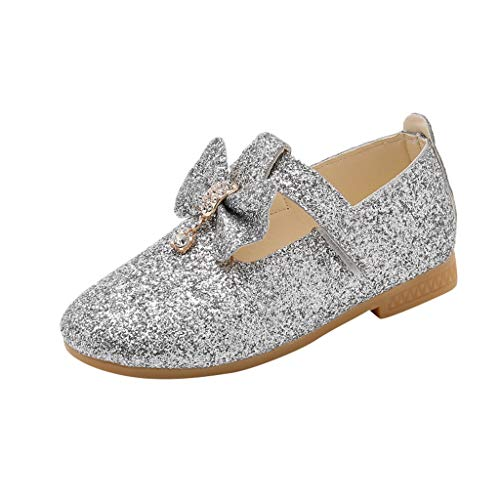 (Tantisy ♣↭♣ Girl's Adorable Sparkle Mary Jane Princess Party Dress Shoes Kids Anti-Slip Elegant Dancing Shoes for Big Kids Silver)