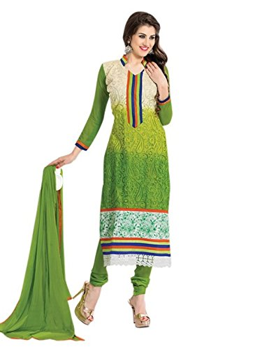 Vibes Womens Georgette Patch Work Straight Dress Material (V270-2 _Green _Free Size)
