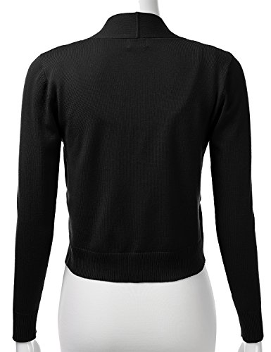 FLORIA Womens Classic Long Sleeve Open Front Cropped Cardigan Black L by FLORIA (Image #2)