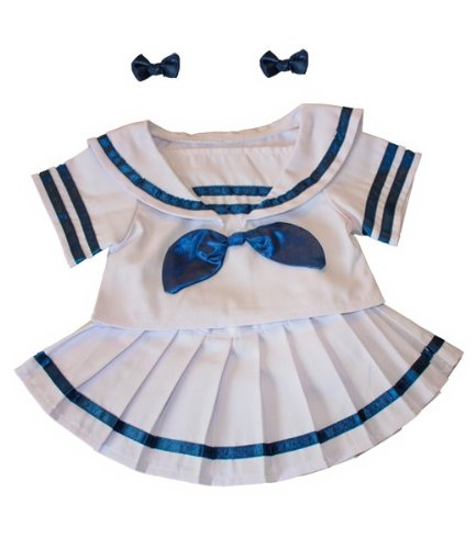 Softest Toy Bow (Sailor Girl w/Bows Dress Outfit Teddy Bear Clothes Fits Most 14