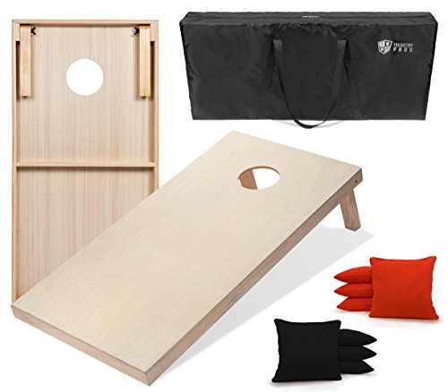 ' Cornhole Boards w/Carrying Case & Set of 8 Cornhole Bags (You Pick Color) 25 Bag Colors! (Black/Orange, 4'x2' Boards) ()