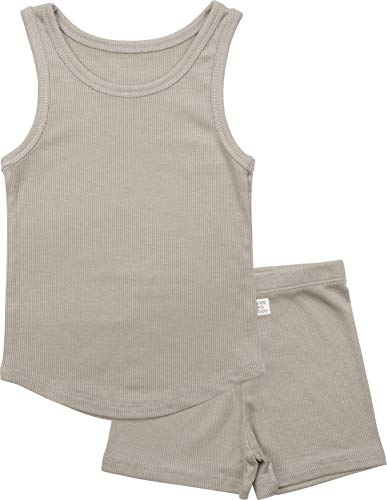 AVAUMA ICE Plain Sleeveless Newborn Baby Little Boy Girl Pajamas Summer Sets Pjs Kids Clothes (S/Cocoa)