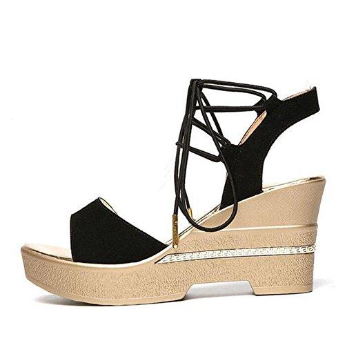 Poissons L'Eau D'éTé à ImperméAble Hauts Women'S 2017 De Sandals Talons Pente De Chaussures à Forme black Cou Plate Avec Femmes La xCFpfCSqw