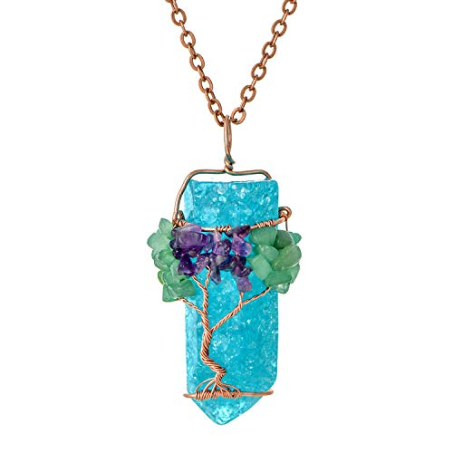 Healing Wire Wrapped Copper Root Family Tree of Life Turquoise Birthstone Pendant Necklace Crystal Tumbled Raw Natural Semi Precious Stone Gemstones Birth Chain Necklace Jewelry for Women ()