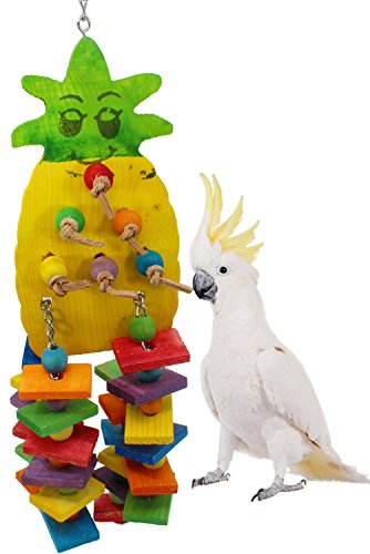 Bonka Bird Toys 1734 Large Pineapple Wood Bird Toy parrot cage toys cages African grey ()