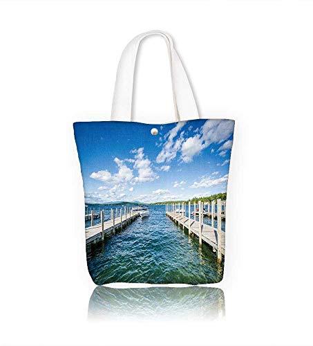 Ladies canvas tote bag Docks along Lake Winnipesaukee in Weirs Beach Laconia reusable shopping bag zipper handbag Print Design W16.5xH14xD7 INCH