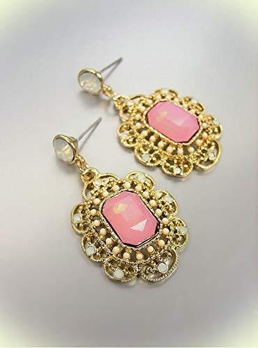 GORGEOUS Urban Artisanal Pink Aventurine Gold White Opal Crystals Earrings For Women Set