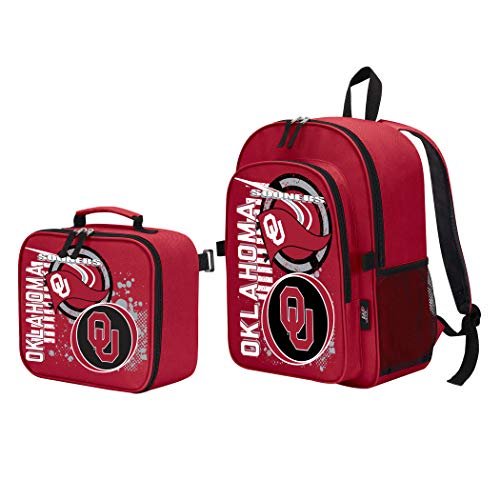 The Northwest Company Officially Licensed NCAA Oklahoma Sooners Accelerator Backpack & Lunch Kit Bag Set, Red, 16
