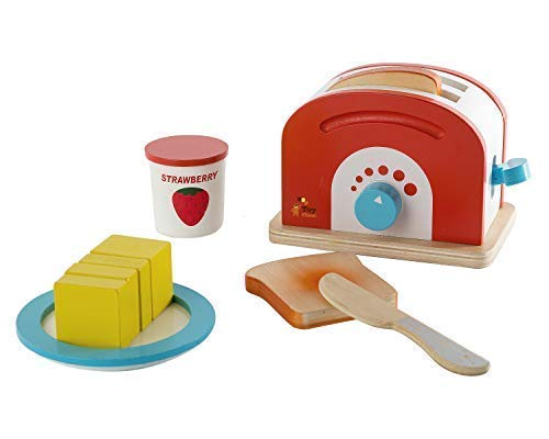 Toy Chest Nyc Wooden Toaster Set Cute Durable Colorful Educational Creative Toast Bread Pretend Play Kitchen 10 Piece Play Set for Kids Children Toddlers (Pretend Play Toaster)
