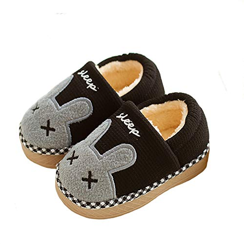 Aelph Comfy Cute Kids House Slippers Fur Lined Indoor Outdoor Winter Warm Slippers Boys Girls (Toddler/Little Kid) Black/1.5M US Little Kid