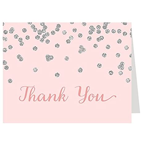 thank you cards baby and brunch baby shower pink blush silver