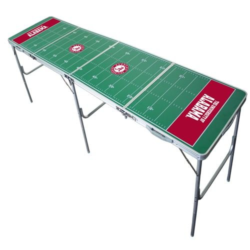 Alabama Crimson Tide Tailgate Table, NCAA Football Tailgating, 2x8, 8ft, Aluminum, Lightweight, Portable